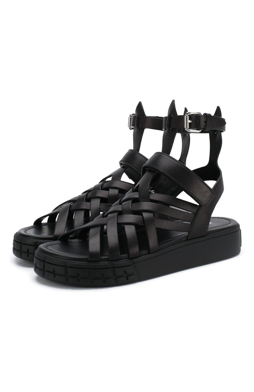 Женские кожаные сандалии PRADA черного цвета, арт. 1X958L-248-F0002-30 | Фото 1