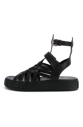 Женские кожаные сандалии PRADA черного цвета, арт. 1X958L-248-F0002-30 | Фото 3