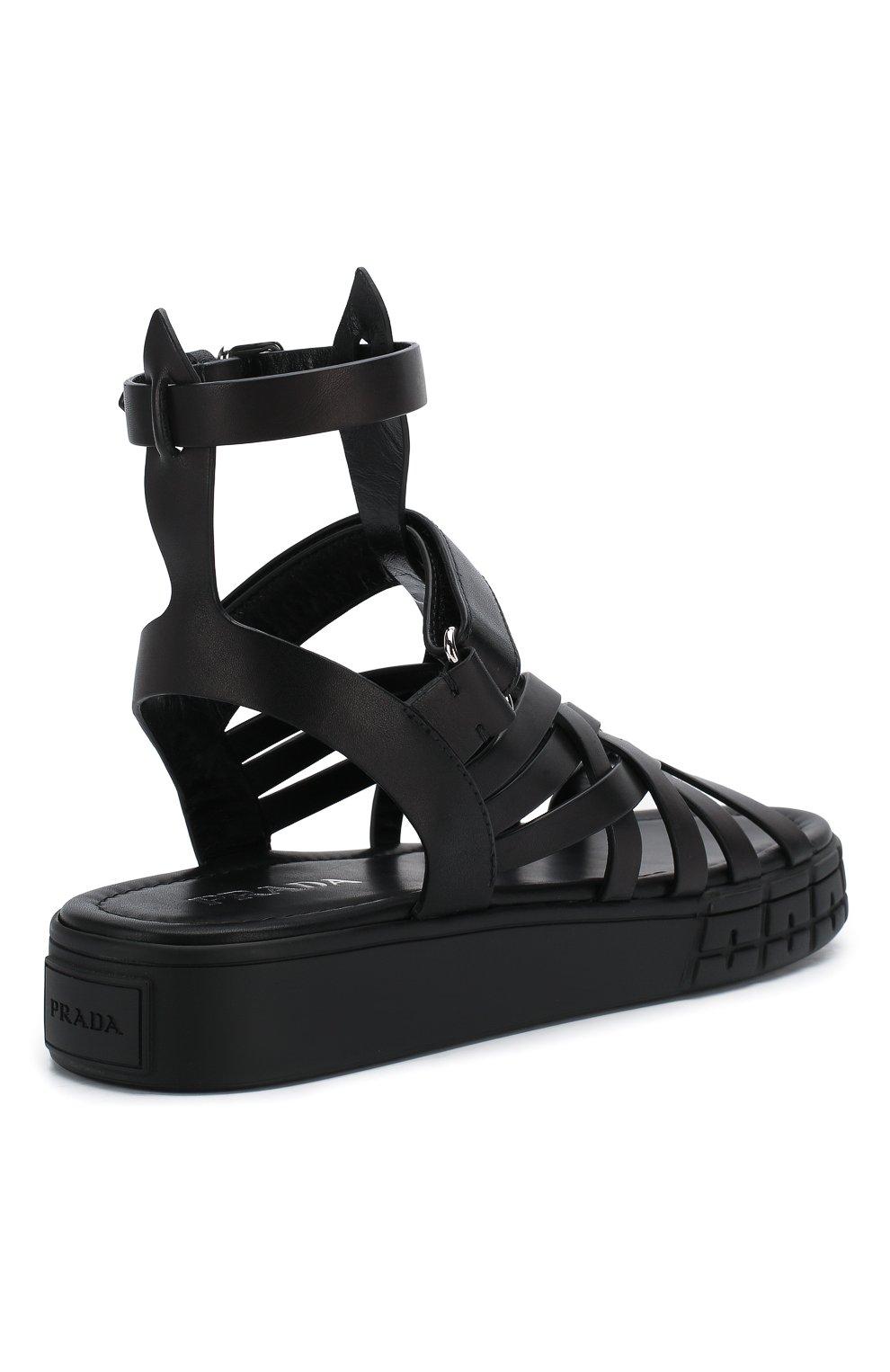 Женские кожаные сандалии PRADA черного цвета, арт. 1X958L-248-F0002-30 | Фото 4