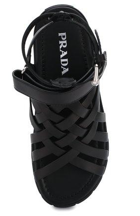 Женские кожаные сандалии PRADA черного цвета, арт. 1X958L-248-F0002-30 | Фото 5