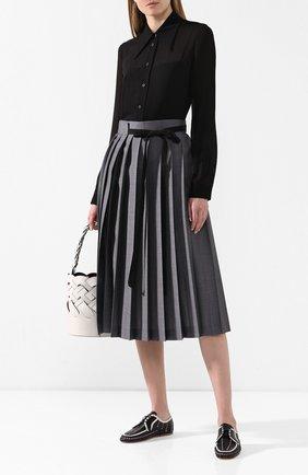 Женские кожаные дерби PRADA черно-белого цвета, арт. 1E177M-3AVH-F0967-5 | Фото 2