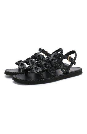 Женские кожаные сандалии PRADA черного цвета, арт. 1X186M-27-F0002-A015 | Фото 1