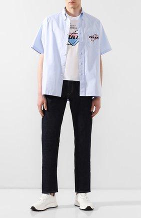 Мужская хлопковая футболка PRADA белого цвета, арт. UJN399-1WL2-F0009-162   Фото 2