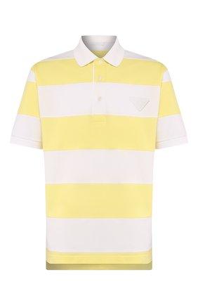 Мужское хлопковое поло PRADA желтого цвета, арт. UJN653-1WKZ-F0B1U-201   Фото 1
