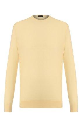 Мужской шерстяной джемпер PRADA желтого цвета, арт. UMM984-C5W-F0032   Фото 1