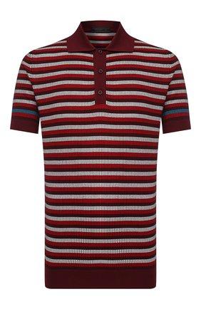 Мужское хлопковое поло PRADA бордового цвета, арт. UMB010-1VOV-F0007-201 | Фото 1