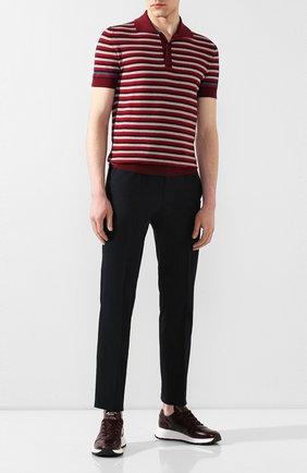 Мужское хлопковое поло PRADA бордового цвета, арт. UMB010-1VOV-F0007-201 | Фото 2