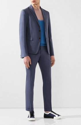 Мужские хлопковые брюки PRADA синего цвета, арт. SPD91-1BJ2-F0AFC-172 | Фото 2
