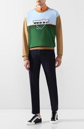 Мужские хлопковые брюки PRADA синего цвета, арт. SPD91-1VTN-F0124-172 | Фото 2