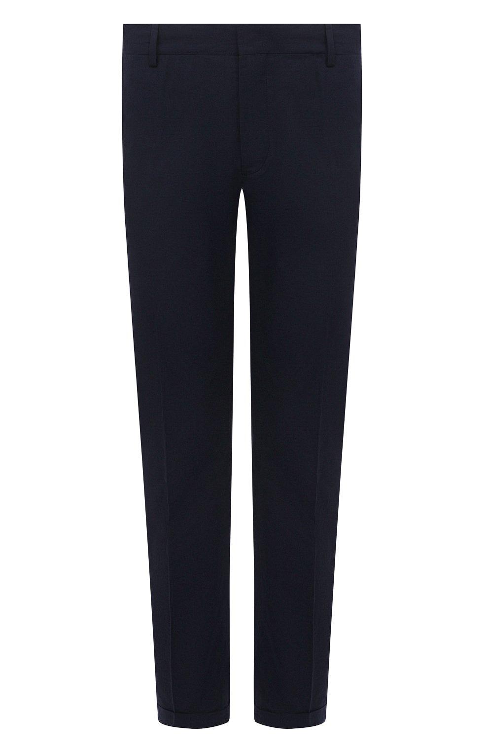 Мужские хлопковые брюки PRADA темно-синего цвета, арт. SPD91-1BJ2-F0ABM-172 | Фото 1 (Длина (брюки, джинсы): Стандартные; Случай: Повседневный; Материал внешний: Хлопок; Стили: Минимализм)