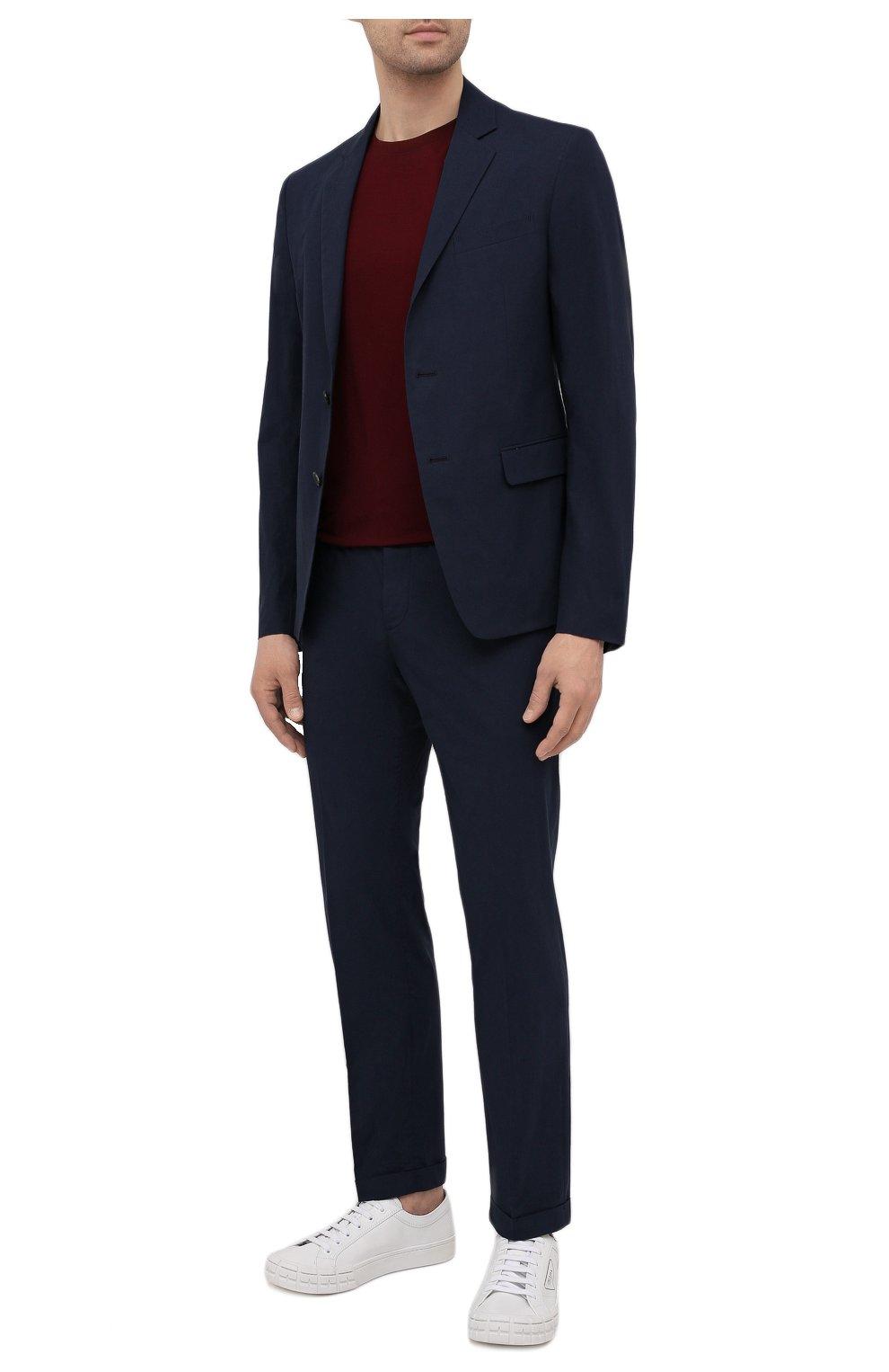 Мужские хлопковые брюки PRADA темно-синего цвета, арт. SPD91-1BJ2-F0ABM-172 | Фото 2 (Длина (брюки, джинсы): Стандартные; Случай: Повседневный; Материал внешний: Хлопок; Стили: Минимализм)