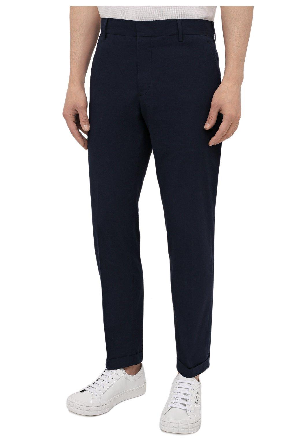Мужские хлопковые брюки PRADA темно-синего цвета, арт. SPD91-1BJ2-F0ABM-172 | Фото 3 (Длина (брюки, джинсы): Стандартные; Случай: Повседневный; Материал внешний: Хлопок; Стили: Минимализм)
