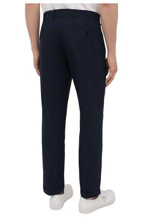 Мужские хлопковые брюки PRADA темно-синего цвета, арт. SPD91-1BJ2-F0ABM-172 | Фото 4 (Длина (брюки, джинсы): Стандартные; Случай: Повседневный; Материал внешний: Хлопок; Стили: Минимализм)