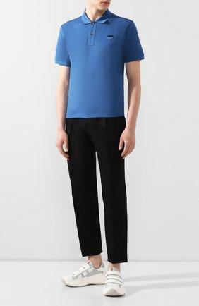 Мужское хлопковое поло PRADA синего цвета, арт. UJN444-XGS-F0076-181 | Фото 2