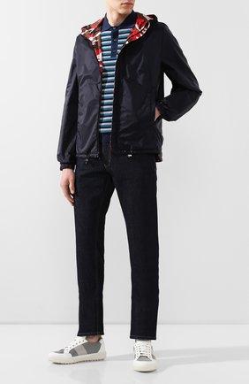 Мужское хлопковое поло PRADA синего цвета, арт. UMB010-1VOV-F0124-201 | Фото 2