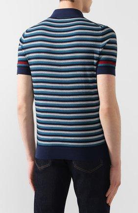 Мужское хлопковое поло PRADA синего цвета, арт. UMB010-1VOV-F0124-201 | Фото 4