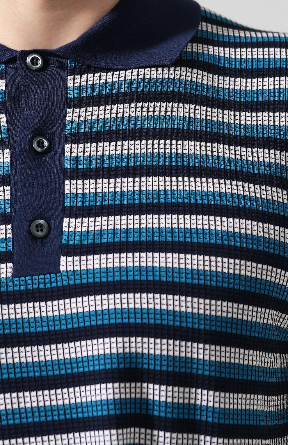 Мужское хлопковое поло PRADA синего цвета, арт. UMB010-1VOV-F0124-201 | Фото 5