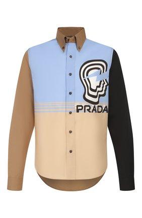 Мужская хлопковая рубашка PRADA разноцветного цвета, арт. UCN285-1WOV-F0T8S-201   Фото 1