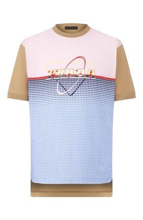 Мужская хлопковая футболка PRADA разноцветного цвета, арт. UJN654-1WL7-F0YKV-201   Фото 1