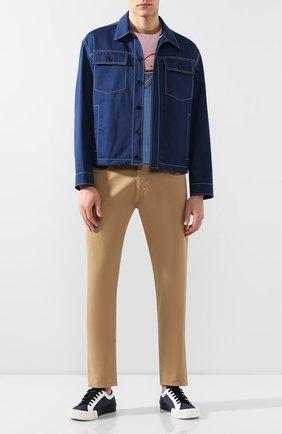 Мужская хлопковая футболка PRADA разноцветного цвета, арт. UJN654-1WL7-F0YKV-201   Фото 2