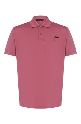 Мужское хлопковое поло PRADA розового цвета, арт. UJN444-XGS-F0638-181 | Фото 1