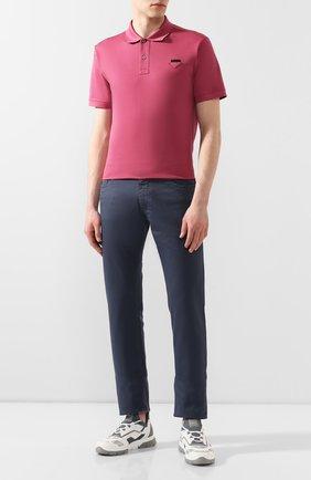 Мужское хлопковое поло PRADA розового цвета, арт. UJN444-XGS-F0638-181 | Фото 2