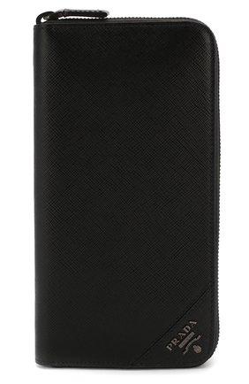 Мужской кожаное портмоне PRADA черного цвета, арт. 2ML317-QME-F0002 | Фото 1