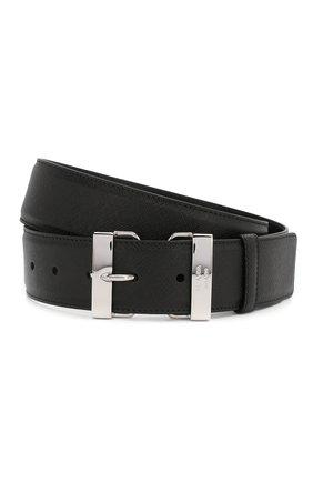 Мужской кожаный ремень PRADA черного цвета, арт. 2CM185-53-F0002 | Фото 1