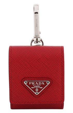 Мужской кожаный чехол для airpods PRADA красного цвета, арт. 2TT106-2AHF-F068Z | Фото 1