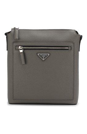 Мужская кожаная сумка PRADA серого цвета, арт. 2VH062-9Z2-F0K44-OOO | Фото 1