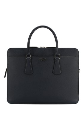 Мужская кожаная сумка для ноутбука PRADA синего цвета, арт. 2VE366-2FAD-F0216-OOX | Фото 1