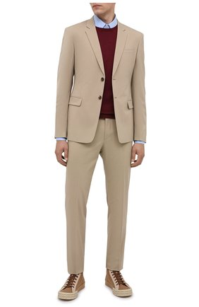 Мужские текстильные кеды PRADA бежевого цвета, арт. 2TG158-89C-F0ZYR | Фото 2