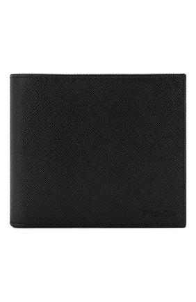 Мужской кожаное портмоне PRADA черного цвета, арт. 2MO738-53-F0002 | Фото 1