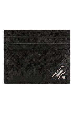 Мужской кожаный футляр для кредитных карт PRADA черного цвета, арт. 2MC223-QME-F0002 | Фото 1