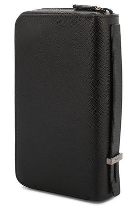 Мужская кожаный футляр для документов PRADA черного цвета, арт. 2ML027-QME-F0002 | Фото 2