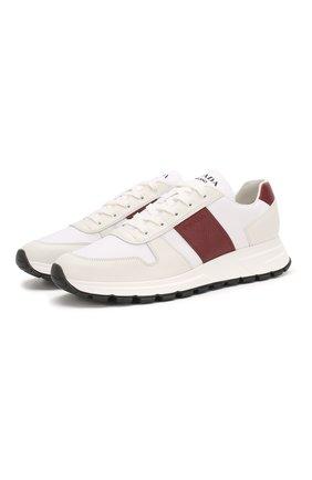 Мужские комбинированные кроссовки PRADA белого цвета, арт. 4E3463-3L1K-F0YHV-G000 | Фото 1 (Подошва: Массивная; Стили: Классический)