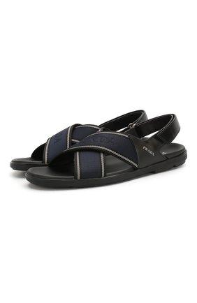 Мужские комбинированные сандалии PRADA темно-синего цвета, арт. 2X3022-3KXT-F0JPM | Фото 1