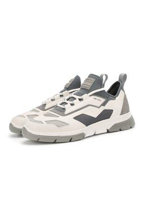 Мужские комбинированные кроссовки PRADA белого цвета, арт. 4E3515-DEP-F0FZB | Фото 1