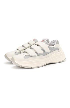 Мужские комбинированные кроссовки america's cup PRADA белого цвета, арт. 4O3512-6GW-F0J36 | Фото 1