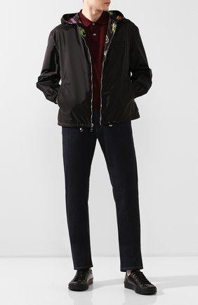Мужские кожаные кеды PRADA черного цвета, арт. 2EG302-A21-F0002 | Фото 2