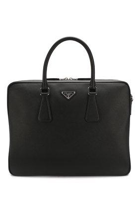 Мужская кожаная сумка для ноутбука PRADA черного цвета, арт. 2VE011-9Z2-F0002-OOO | Фото 1