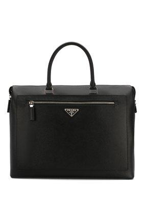 Мужская кожаная сумка для ноутбука PRADA черного цвета, арт. 2VG044-9Z2-F0002-OOO | Фото 1