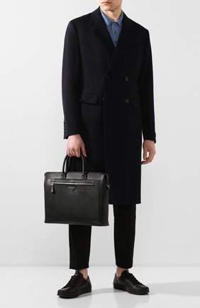 Мужская кожаная сумка для ноутбука PRADA черного цвета, арт. 2VG044-9Z2-F0002-OOO | Фото 2