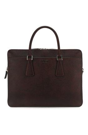 Мужская кожаная сумка для ноутбука PRADA коричневого цвета, арт. 2VE366-2FAD-F0201-OOX | Фото 1