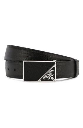 Мужской кожаный ремень PRADA черного цвета, арт. 2CM206-53-F0002 | Фото 1