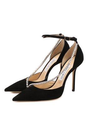 Женская замшевые туфли talika 100 JIMMY CHOO черного цвета, арт. TALIKA 100/EWA | Фото 1