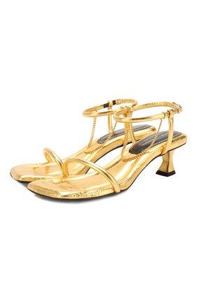 Женские кожаные босоножки PROENZA SCHOULER золотого цвета, арт. PS34231A/11320 | Фото 1