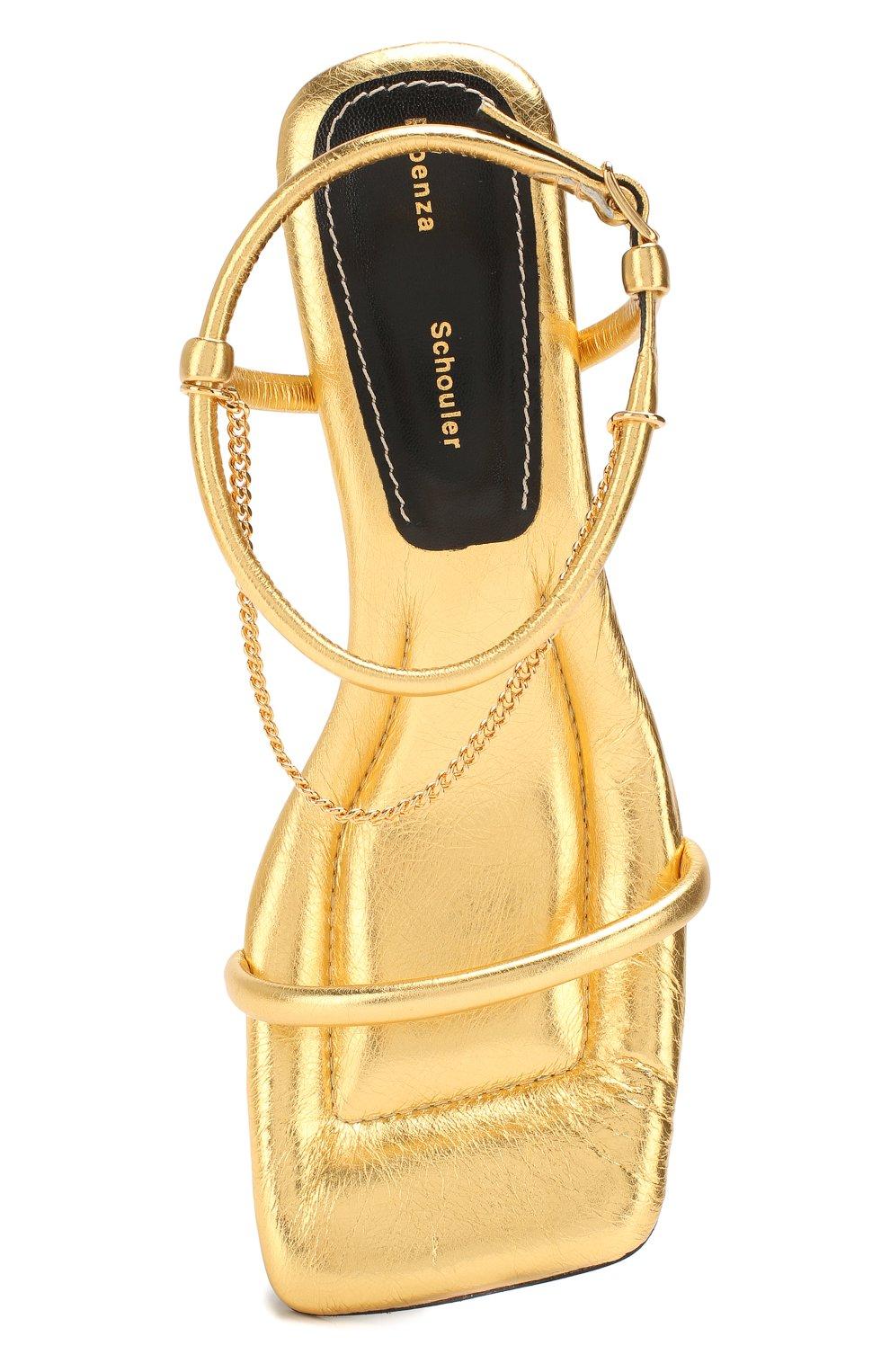 Женские кожаные босоножки PROENZA SCHOULER золотого цвета, арт. PS34231A/11320 | Фото 5