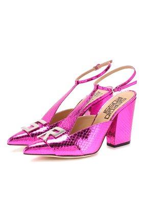 Женская кожаные туфли sergio logomaniac SERGIO ROSSI фуксия цвета, арт. A90021-MCAL09   Фото 1