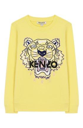 Детский хлопковый свитшот KENZO желтого цвета, арт. KQ15118 | Фото 1